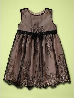 Black lace dress for baby goth girls. From The Gap, of all places. A lot of ladies are pinning this to their Fashion pages, but be aware this dress is for INFANTS.