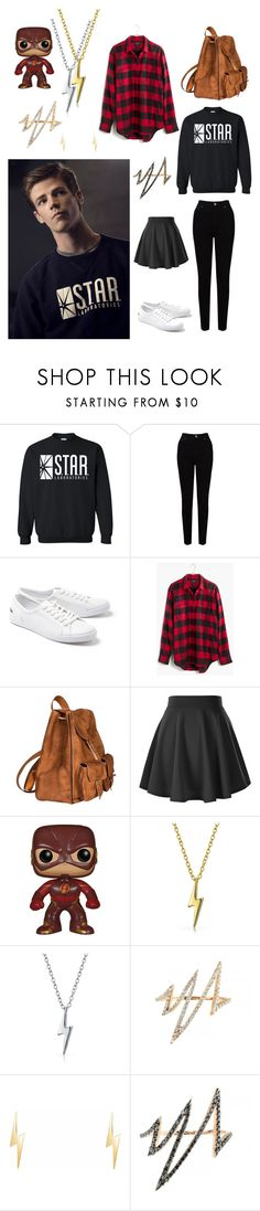 """""""The Flash - Barry Allen"""" by hazzaparvi ❤ liked on Polyvore featuring EAST, Lacoste, Madewell, Yves Saint Laurent, Funko, Bling Jewelry and Talia Naomi"""