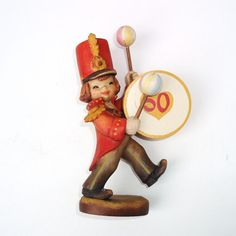 Vintage Anri Handcarved Wood Figurine / Drummer Boy Wooden Sculpture / Anri Italy 50 Years Jubilee