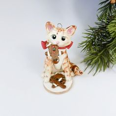 Your place to buy and sell all things handmade Cat Christmas Ornaments, Hand Sculpture, Santa Cookies, Porcelain Clay, Cat Stuff, My Works, Animal Rescue, Red, Handmade