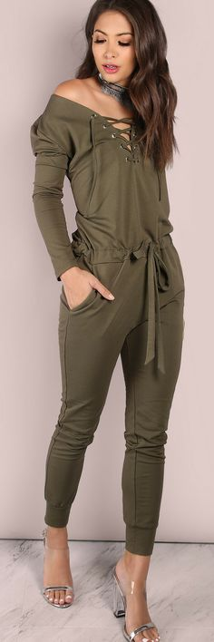 Slouchy Lace Up Cotton Jumpsuit OLIVE