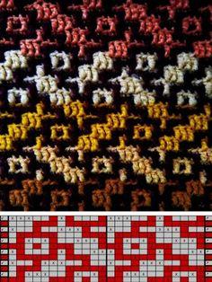 Crochet Stitches Patterns, Crochet Chart, Diy Crochet, Stitch Patterns, Knitting Patterns, Slip Stitch Knitting, Knitting Charts, Knitting Stitches, Mosaic Knitting