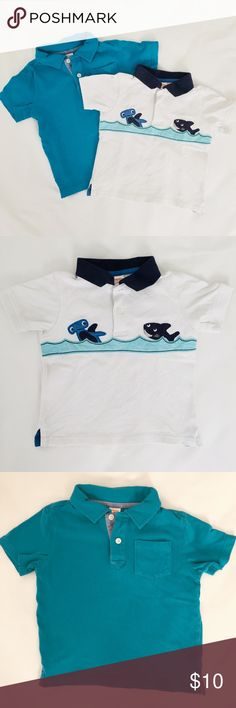 2 Gymboree Polo Shirts 2 Gymboree short sleeve polo tops. One teal and the other is pique cotton with fun shark appliqués. Very good condition Gymboree Shirts & Tops Polos