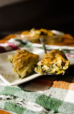Spinach pie made with baklava phyllo sheets | giverecipe.com | #spinach #pie #borek