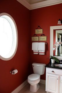 The Yellow Cape Cod: DIY Projects-small bathroom **LOVE how she hangs her bath towels over to look like a hand towel length! - my guest bathroom at our new house need these colors Red Bathroom Decor, Bathroom Decor Pictures, Bathroom Colors, Red Bathrooms, Bathroom Wall, Downstairs Bathroom, Maroon Bathroom, Bathroom Ideas, Burlap Bathroom