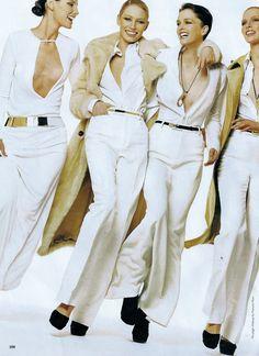 US Vogue July 1996 Fashion's New Establishment Models: Trish Goff; Kristy Hume; Stella Tennant; Elsa Benitz; Kristina Krause; Esther DeJong; Unknowns Ph: Steven Meisel / Annie Leibovitz Fashion Editor: Grace Coddington Hair: Garren Makeup: Francios Nars