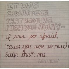 """Hmm. That explains it. LOL """"There was no thief, for it was me that lost you."""" -- Relient K. <3"""