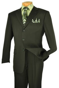 Mont Blanc Collection - Regular Fit Suit 3 Button 2 Piece in Olive, 2 Piece Collection, Polyester, Single breasted 3 buttons, solid color. Black Tie Suit, Suit And Tie, Green Suit, Dress Suits For Men, Men Dress, Mens Fashion Suits, Mens Suits, Men's Fashion, Fashion Trends