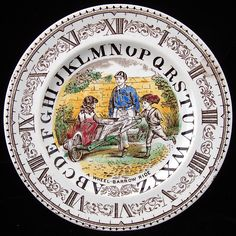 """""""Alphabet Plate: A Wheel-Barrow Ride"""" by Brownhills Pottery Co, Staffordshire, England, c.1880"""