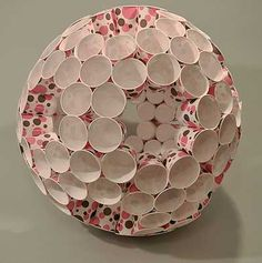 paper cups glued into a model of a truncated icosahedron
