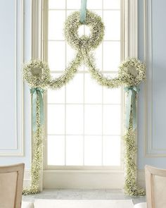 Baby's breath garland  Add lavendar for fragrance  subtract ribbons, weave in eucalyptus also for fragrance