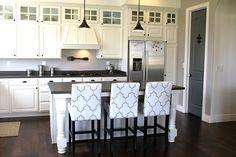 Suzie: The Casablanca Transformation - Stencil painted counter stools! Gorgeous kitchen design ...