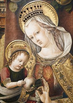 The unmistakable fruit fetish of the venetian painter Carlo Crivelli. Detail of a Madonna and Child Enthroned, circa Things that caught my eye in the Szépművészeti Múzeum, Budapest. Blessed Mother Mary, Divine Mother, Early Christian, Christian Art, Religious Icons, Religious Art, Renaissance Portraits, Queen Of Heaven, Byzantine Art