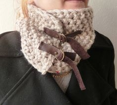 Knitted Beige  Cowl with Glitter beadsNeckwarmer by buggarenovated, $30.00