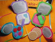 Fun felt Makeup Set Machine Embroidery Design. $4.99, via Etsy.  put in the purse page