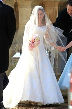 Geri Halliwell calls on society bride favourite Phillipa Lepley to design a 'completely couture' wedding gown made from 'exquisite lace'