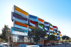 KUD (Kavellaris Urban Design), have recently completed this fun and colorful apartment building in Box Hill, Australia Australian Architecture, Urban Architecture, Contemporary Architecture, Facade Design, House Design, Design Presentation, Colorful Apartment, Social Housing, Design Poster