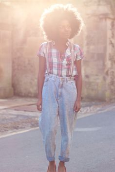 I go by Frankie, Oxford, Vintage jeans, check shirt topshop, red pointed heels topshop, afro, braces topman