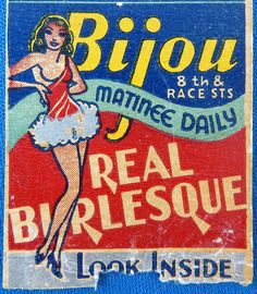 The original wardrobe malfunction detail of a vintage match pack for Philadelphia's Leading Burlesque Theatre