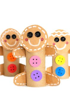 Cardboard Roll Gingerbread Man Craft - Holiday wreaths christmas,Holiday crafts for kids to make,Holiday cookies christmas, Preschool Christmas, Christmas Crafts For Kids, Christmas Activities, Christmas Themes, Kids Christmas, Holiday Crafts, Spring Crafts, Halloween Crafts, Cardboard Rolls