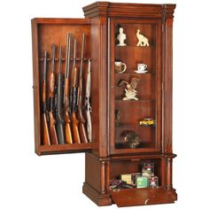 A hidden gun cabinet in plain sight is one of most ingeniously concept that I have seen unlike any gun safe or gun cabinet you have seen. Wood Gun Cabinet, Gun Cabinet Plans, Hidden Gun Cabinets, Hidden Cabinet, Bar Cabinets, Hidden Spaces, Hidden Rooms, Hidden Compartments, Secret Compartment