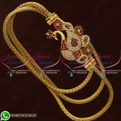These mugappu chains are made from copper metal and gold plating with lacquer Peacock Jewelry, Real Gold Jewelry, Gold Jewelry Simple, Gold Chain Design, Gold Bangles Design, Gold Jewellery Design, Jewelry Design Earrings, Gold Earrings Designs, Necklace Designs