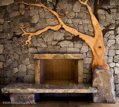 Beautiful Madrone and stone fire hearth. this is the most beautiful fireplace I have ever seen! If I have the chance to put a fireplace in my house- this is the one! Diy Fireplace, Modern Fireplace, Fireplace Design, Eclectic Fireplaces, Rock Fireplaces, Cordwood Homes, Natural Building, New Homes, Decoration