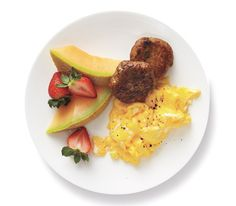 Eggs With Turkey Breakfast Sausage and Fruit