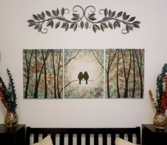 """Love Birds in the Trees. Shades of Turquoise and Brown. Triptych, Group of 3 Canvas - 16"""" x 20"""" Original paintings. Free Shipping."""