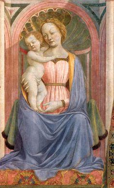 Доменико Венециано (Domenico Veneziano) Мадонна с младенцем в окружении святых. Фрагмент. 1445 г Доменико Венециано. Темпера по дереву. Галерея Уффици, Флоренция.