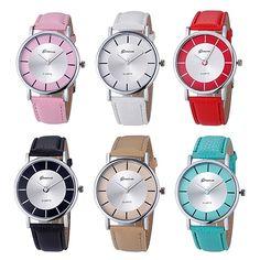 Women Retro Round Dial Faux Leather Band Analog Quartz Movement Wrist Watches #Affiliate
