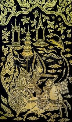 Thai gold leaf painting art on temple door photo