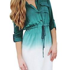 Fashion Preppy Style Women Spring Dress Sexy long Sleeve Gradient Color Office Shirt Dresses Plus Size Work Wear Dress Shirts For Women, Casual Dresses For Women, Sexy Dresses, Blouses For Women, Dresses 2016, Sleeve Dresses, Preppy Style, Gradient Color, Clothes