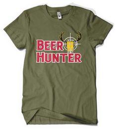 (Cybertela) Beer Hunter Mens T-shirt Funny Drinking Tee (Olive Green, Large)