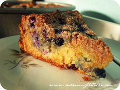 Breakfast cake! Oh yum!.....Okay, I just made this and it was like heaven!! I did modify the recipe a little though. I was making a double batch so I used half pastry flour, half almond flour. I also used bananas in the whole mix because I was out of blueberries. I also took about a 1 cup of cream cheese (double batch though)  and whipped it together with some bananas and cut it into the cake.