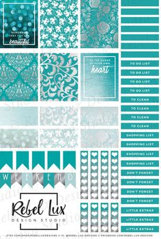 Printable teal & silver damask sticker sheet with Silhouette cut file… Free Planner, Planner Pages, Happy Planner, Planner Ideas, Printable Planner Stickers, Journal Stickers, Printables, Images Vintage, Kikki K