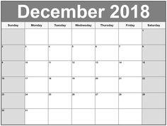December 2018 Printable Calendar  #December2018Calendar