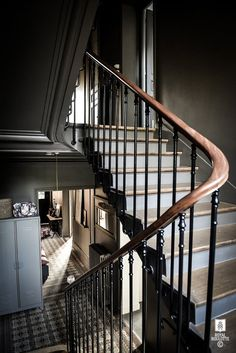 Absolutely gorgeous staircase in this French property . Interior Stairs, Interior And Exterior, Dark Staircase, Staircase Lighting Ideas, French Property, House Stairs, Stairway To Heaven, Interior Design Studio, Stairways