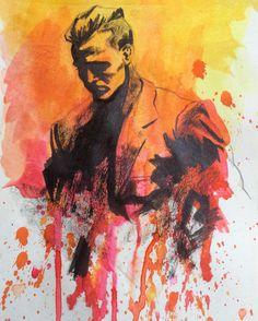 abrindo o #inktober! uma ótima hora para voltar a ficar de mãos sujas de tinta! #ink #splatter #portrait #retrato #nanquim