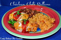 Chicken Chili Relleno by Lady Behind the Curtain...I would probably use Las Palmas green enchilada sauce rather than taco sauce!