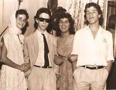 """Maria Helena Soares, Carlos Humberto 'Betão"""" Ferraz, Maria Helena Lana and me. Festa anos sessenta. Campo Mourão/PR 1977"""