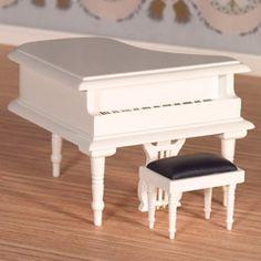 1/12 scale miniature furniture Classical White Grand Piano & Stool