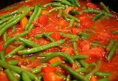 Fasolia... green bean stew. This is typically a tomato-based stew with beef or lamb and green beans. You can have over rice or with bread. So hearty and delicious! Great in winter or summer.