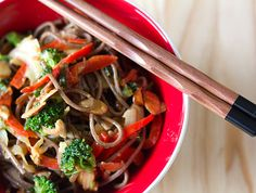 Soba Noodle Stir Fry with Almond Butter Sauce.  Next time would double the broccoli and cabbage.