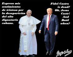 Fidel Castro salutato da Bergoglio e da Trump