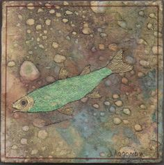 """Green Fish"" Mixed media by Darlene Hagopian"