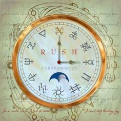 what are the symbols on the new RUSH album ? Around the clock symbols are: Noon: Copper One: Brimstone Two: Purification (sometimes interchangeable with a square cross, which is an earth symbol)  Three: Mercury Four: Winter  Five: Zinc Six: Sun Seven: Aquarius  Eight: Etheric oil, it could also be Quicklime Nine: Neptune Ten: Lead Eleven: Earth