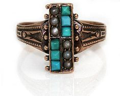 """Antique Turquoise Engagement Ring Vintage Square Cut Turquosie Engagement Wedding Anniversary Ring Rose Gold """"The Gracie"""""""