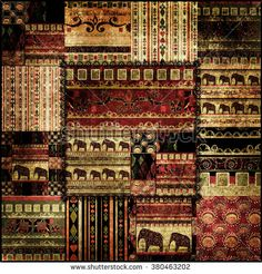 Patchwork african pattern grunge print background - stock photo