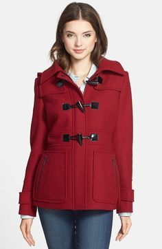 $178, Red Duffle Coat: MICHAEL Michael Kors Michl Michl Kors Wool Blend Duffle Coat. Sold by Nordstrom. Click for more info: https://lookastic.com/women/shop_items/146551/redirect